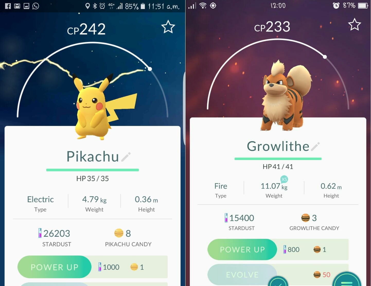 Pokemon Go Pikachu & Growlithe