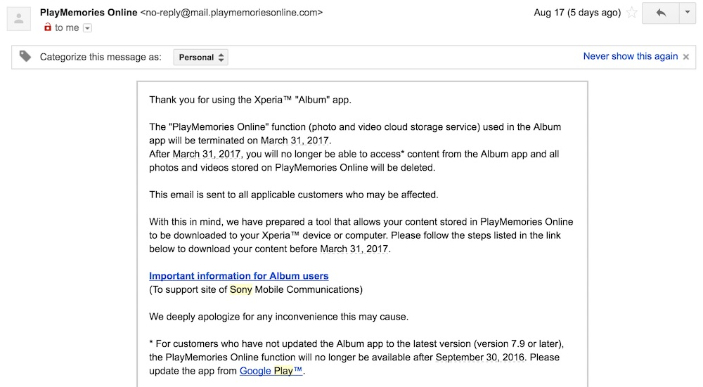 Sony Email to Terminate PlayMemories Online