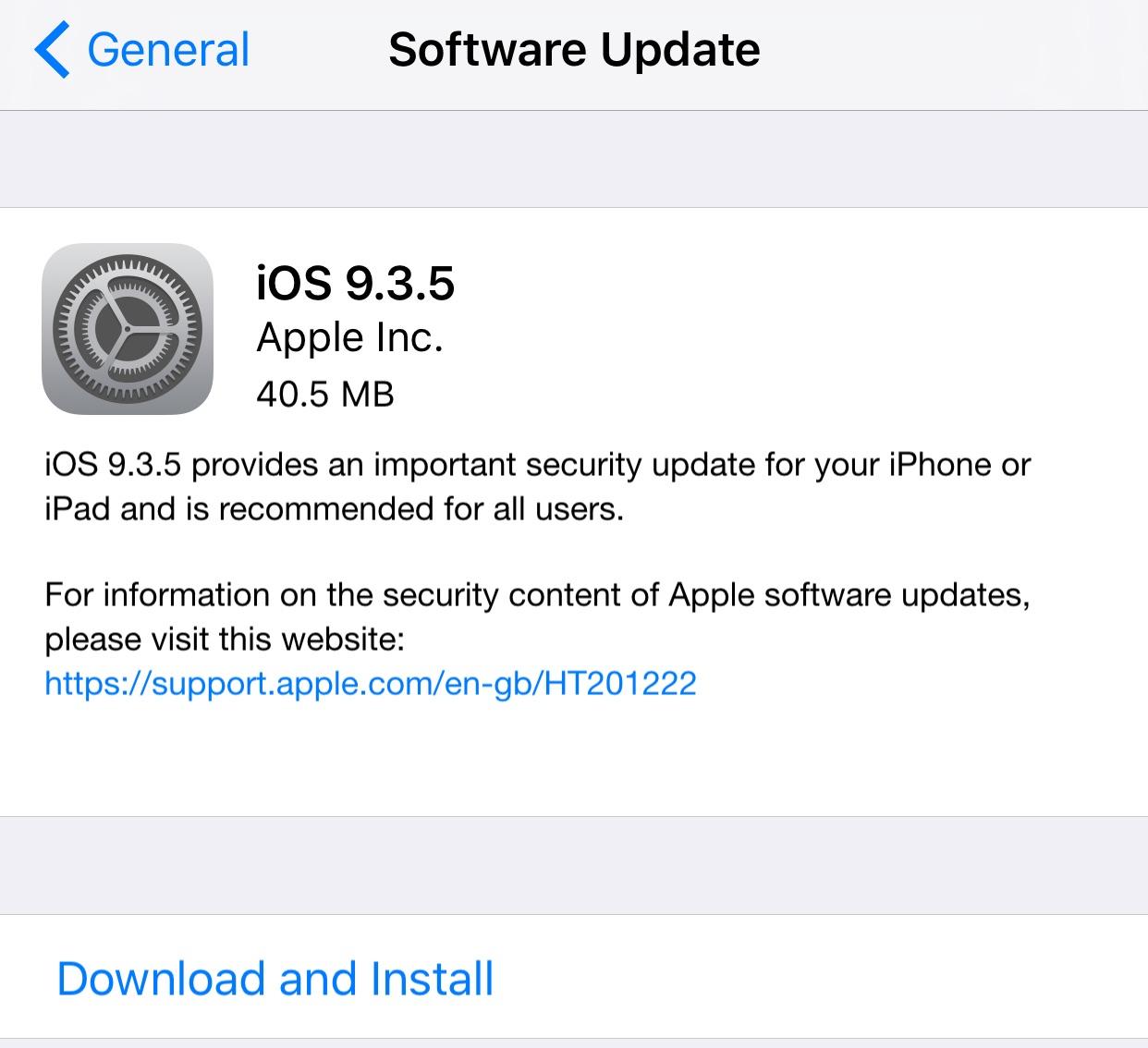 iOS 9.3.5 Update