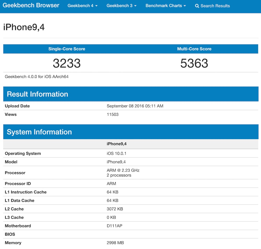 Geekbench iPhone 7 Plus 3GB RAM