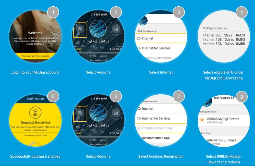 How to redeem Digi Postpaid free 888MB internet v2