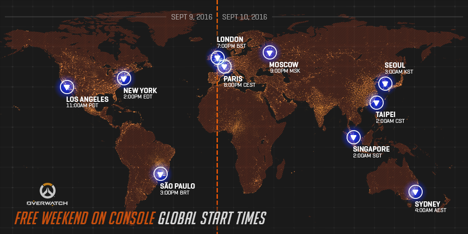 Overwatch Free Weekend Console Start Times