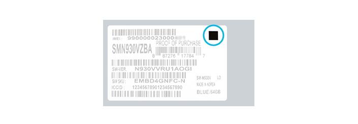 Samsung Galaxy Note 7 Safe Box Label
