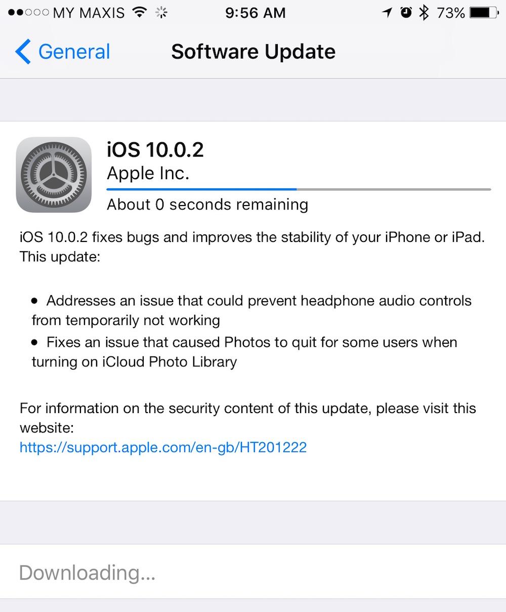 iOS 10.0.2 Update 2