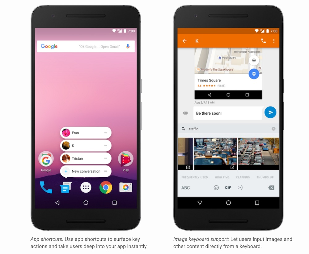 Android 7.1 Developer Preview App Shortcut and Image Keyboard Support