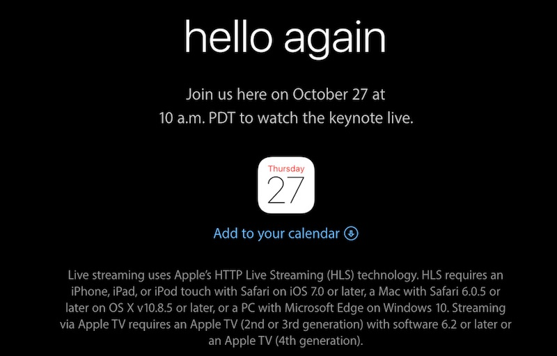 Apple 27 October 2016 Event Live Stream