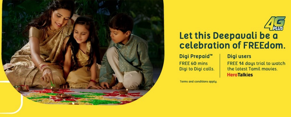 Digi Deepavali 2016 Promotion Free Calls and Free Trial on HeroTalkies