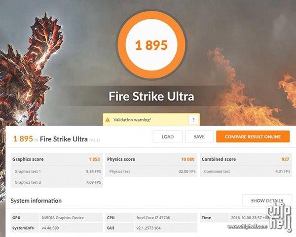 GTX 1050 Ti Fire Strike Ultra