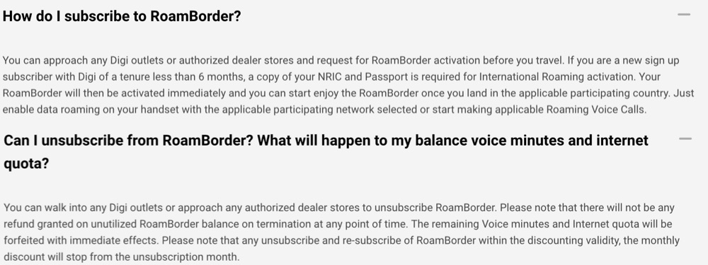 How to Subscribe and Unsubscribe from Digi Roam Border