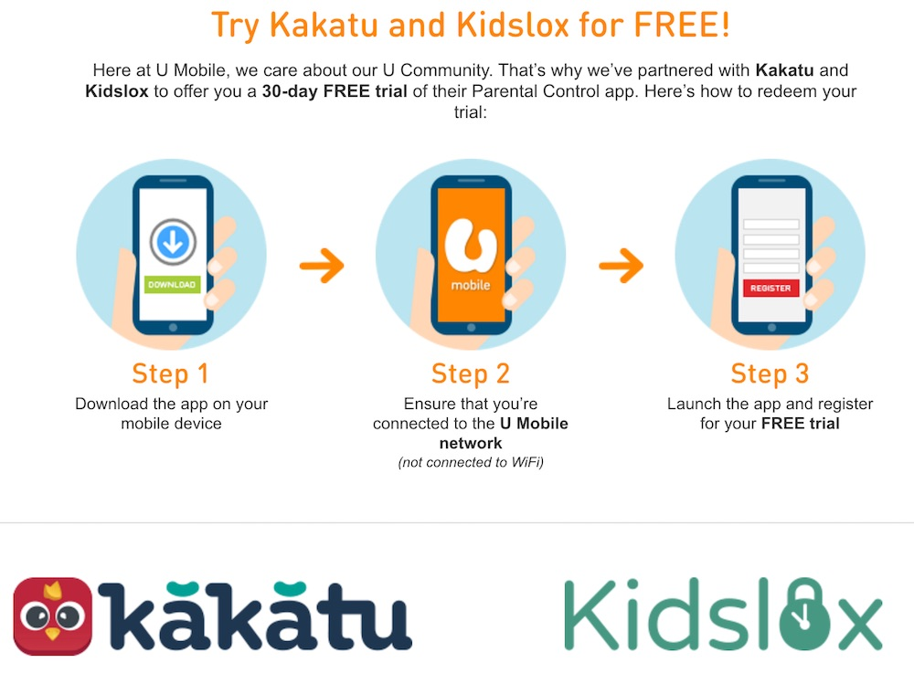 How to enjoy free 30 days trial on Kakatu and Kidslox on U Mobile