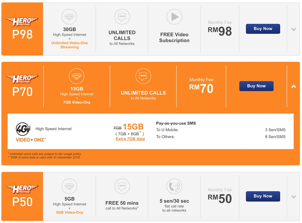 U Mobile P50 P70 and P98 Plans