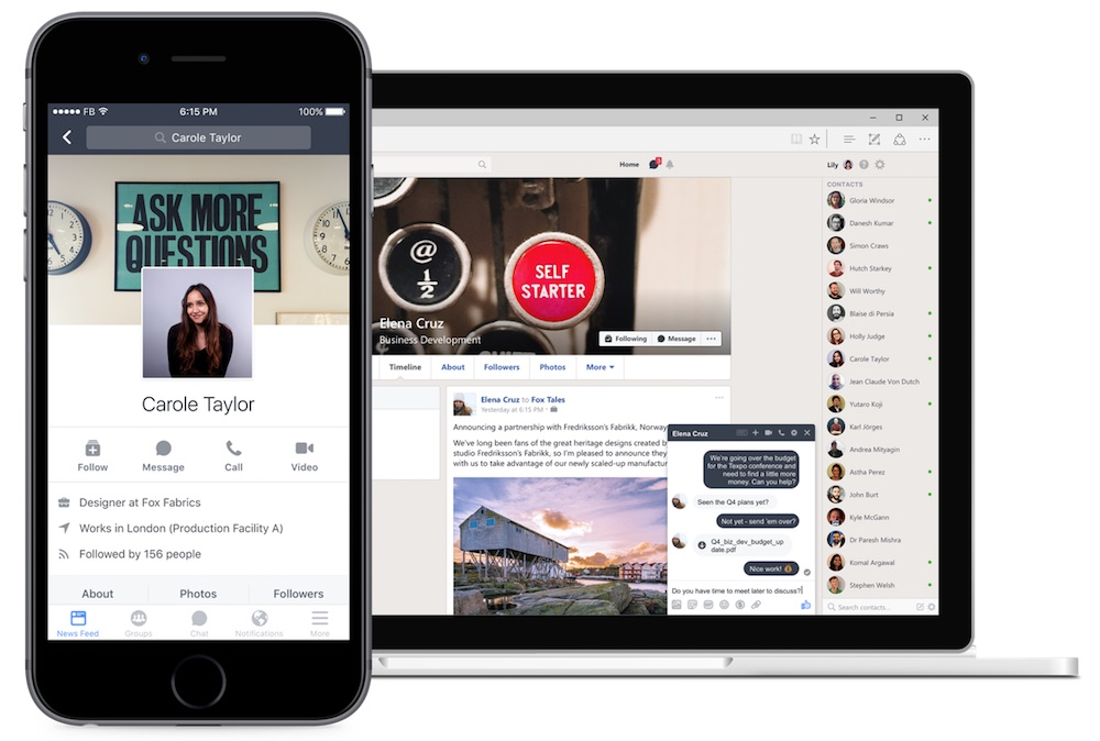 Workplace by Facebook on Mobile and Web
