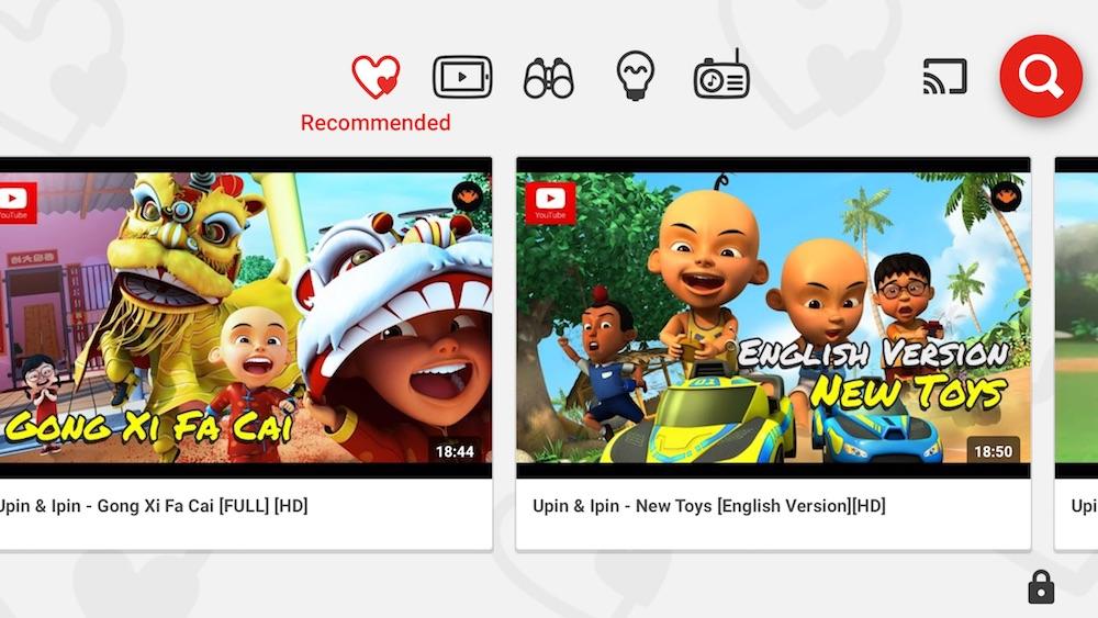 YouTube Kids Main Interface