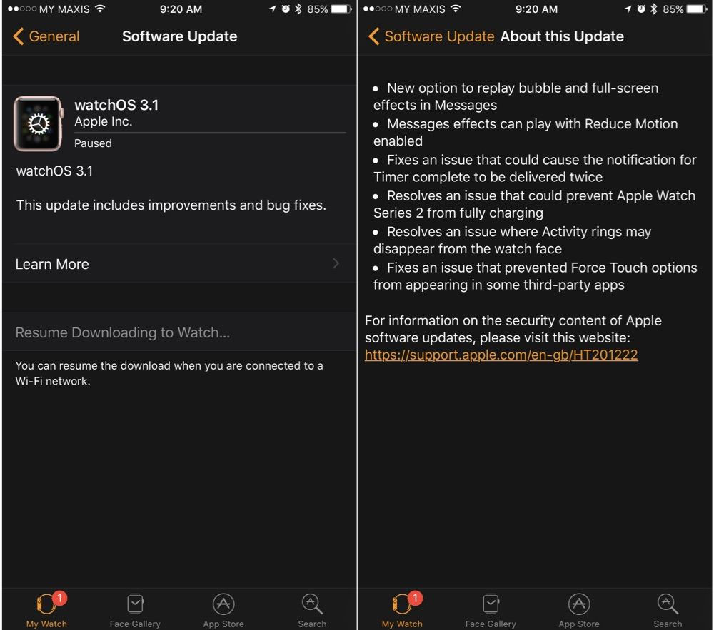 watchOS 3.1 Update
