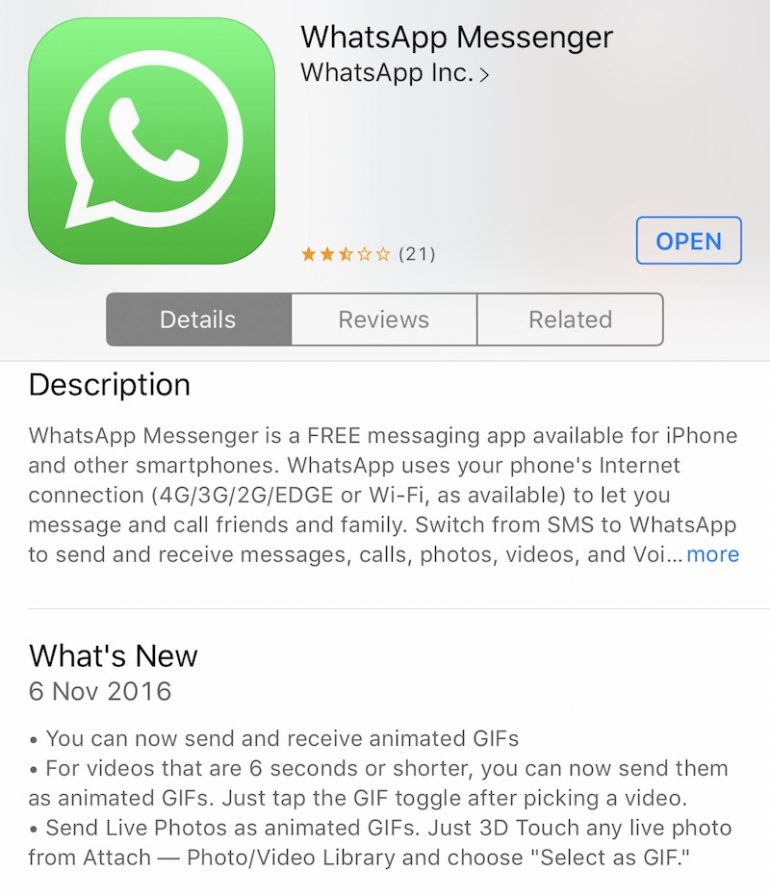 WhatsApp Finally Brings GIF Support to its iOS App | Lowyat NET
