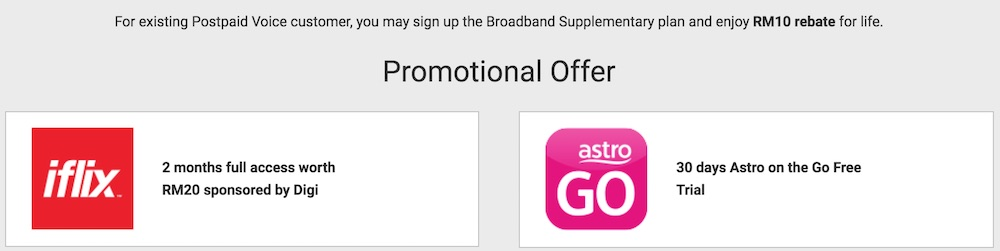 Digi Home Broadband RM10 Rebate for postpaid subscribers and free iflix and astro on the go