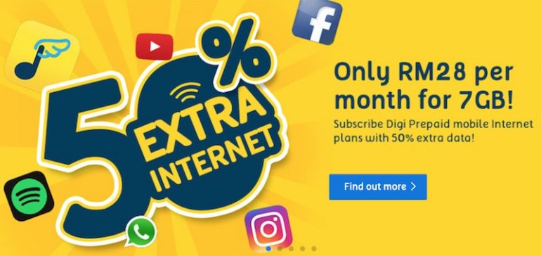 digi now offering 50 extra internet for its prepaid mobile internet