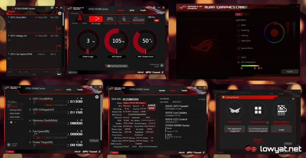 LYN Reviews - ASUS GPU Tweak II and Aura LED for ROG Strix RX 480 8GB OC