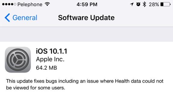 iOS 10.1.1 Update to Fix Bug in Health App