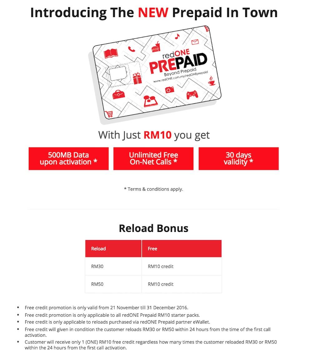 redONE Prepaid Starter Pack Reload Bonus