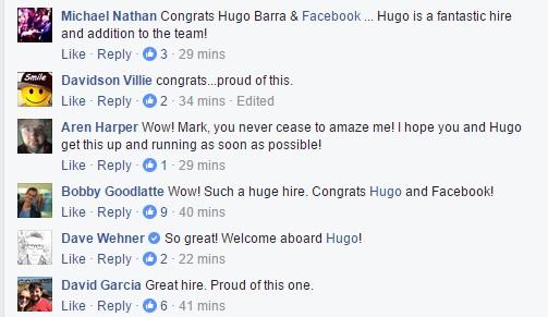 Facebook Hugo Barra Comments