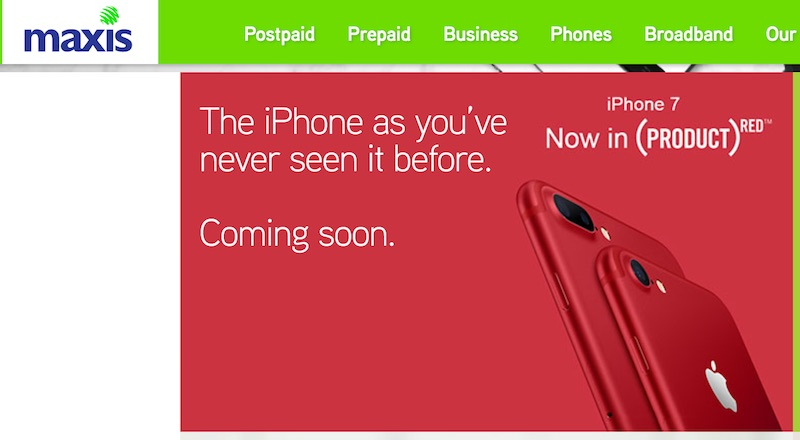 Maxis, Digi and Celcom Teases New Red iPhone 7