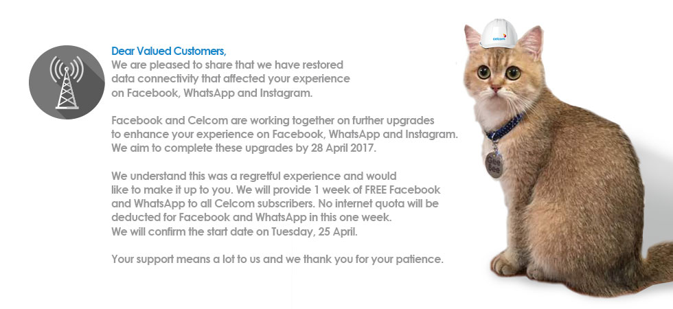 Celcom 1 Week Free Data for Facebook and Whatsapp