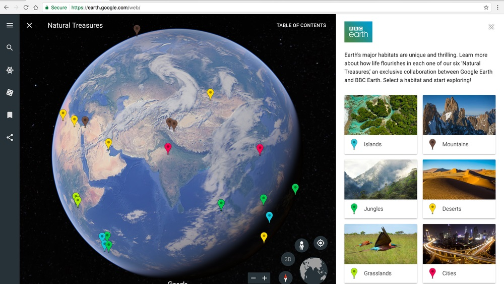 Google revamps google earth now more than just pictures and maps voyager will provide people with information and stories about places around the world google worked with non profit organisations and researchers to gumiabroncs Choice Image