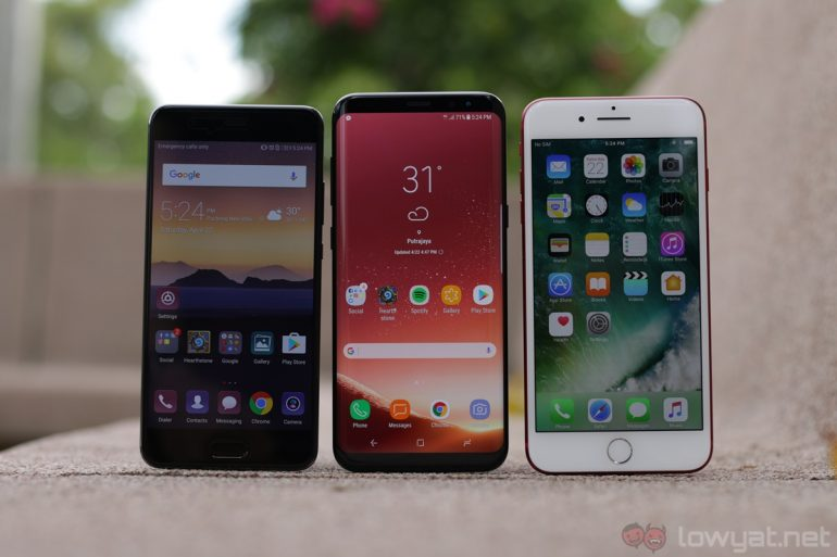 shootout samsung galaxy s8 vs iphone 7 plus vs huawei