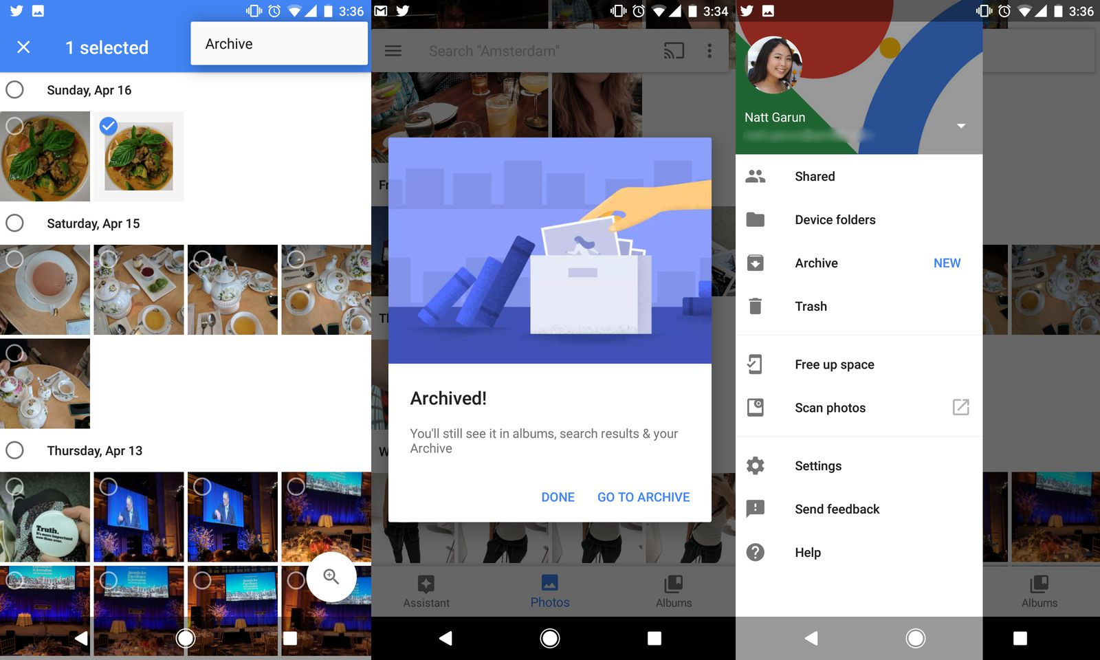 how to delete picture in google archive