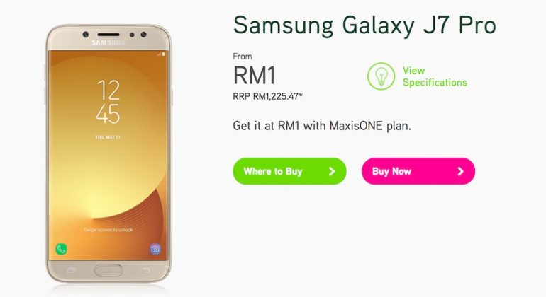Maxis Now Offering Samsung Galaxy J3 Pro and J7 Pro from RM1