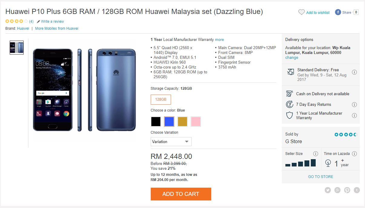 Huawei P10 Plus Limited Edition: Get The Huawei P10 Plus For 21% Off, But Not For New Rose