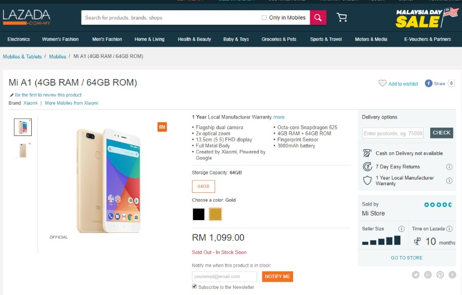 Xiaomi Mi A1 - Mi Store Malaysia