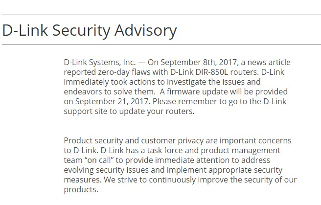 D-Link DIR-850L Security Advisory for Malaysia - 18 September