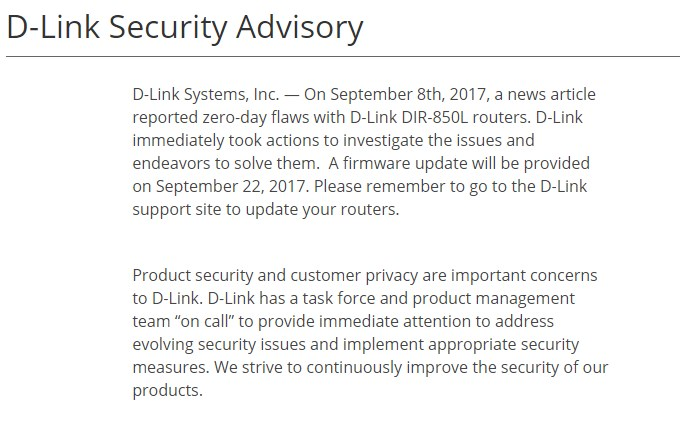 D-Link DIR-850L Security Advisory for Malaysia - 19 September