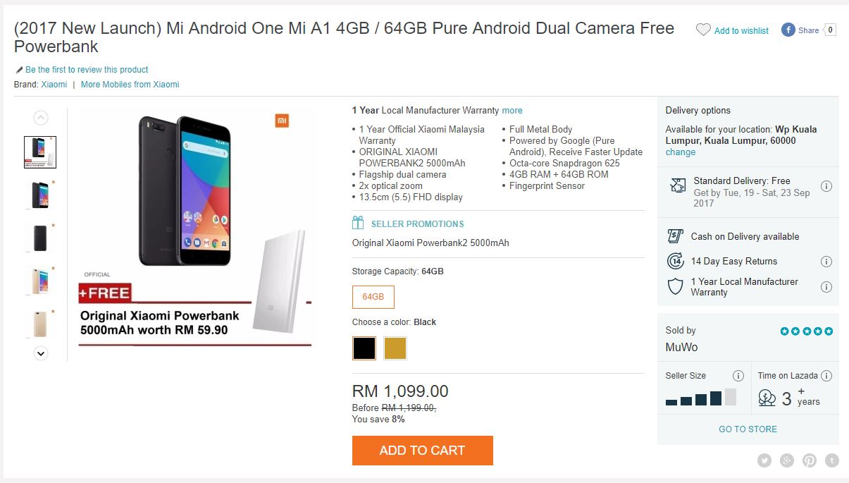 The official Mi Store in Lazada offers the Mi A1 for RM1,099 in Black and Gold colourways, but you can find some other sellers bundling in some freebies for ...