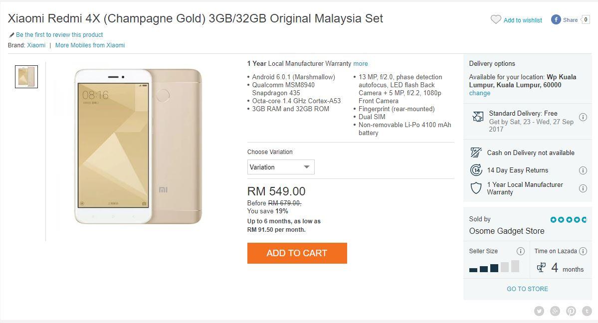 Get The Xiaomi Redmi 4X 3GB For 20 Off
