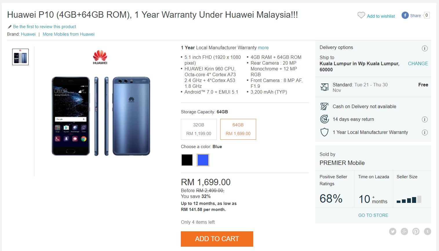 outlet store 7d220 4f658 Huawei P10 Now Going for Only RM1,699 in Malaysia | Lowyat.NET