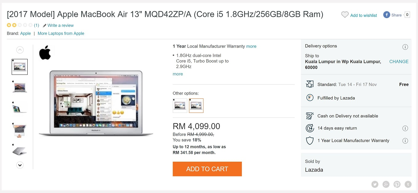 lazada 39 s macbook air 13 prices are almost unbelievable lowyat net. Black Bedroom Furniture Sets. Home Design Ideas