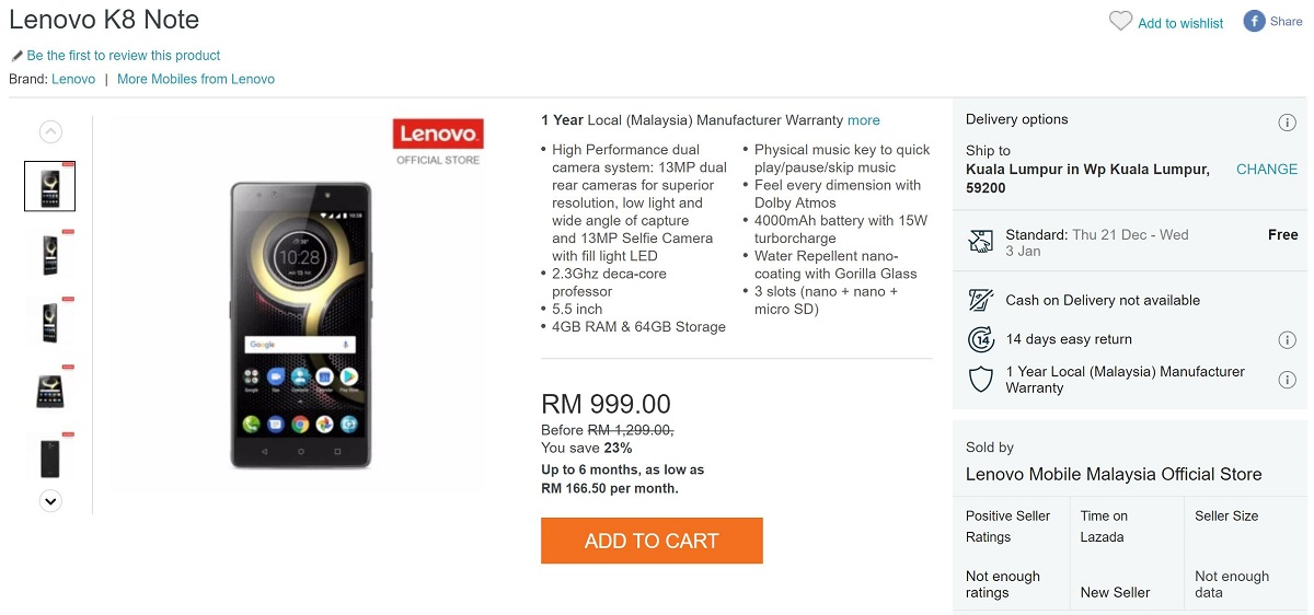 12/12 Deals: Lenovo K8 Note with Stock Android Now in Malaysia for