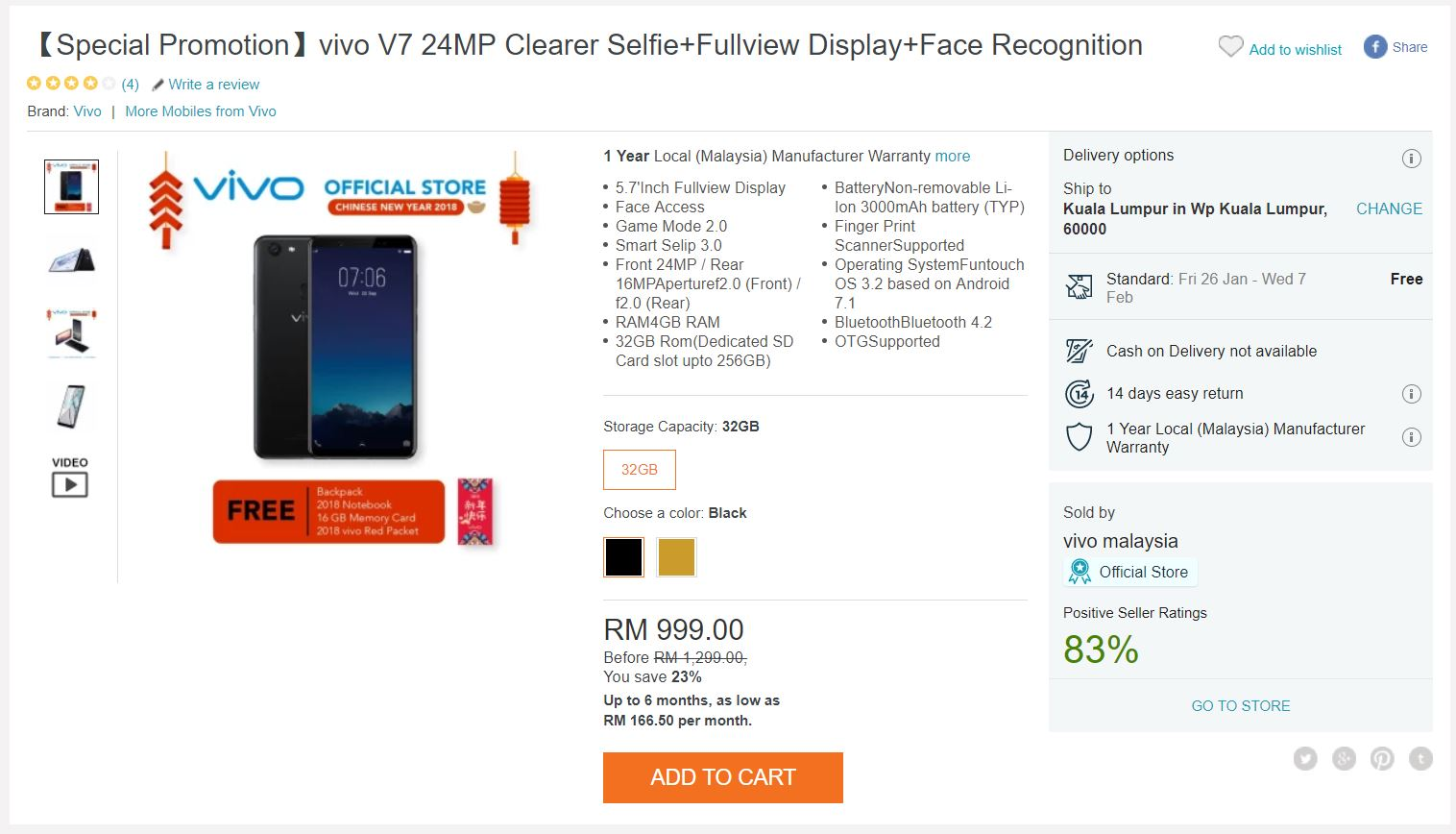 Vivo Chinese New Year Promotion Includes Discounts For V7 Series