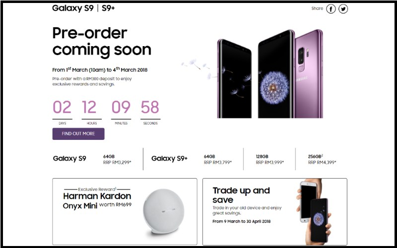 The official website for Samsung Malaysia's Galaxy S9 and Galaxy S9+ pre-order program.
