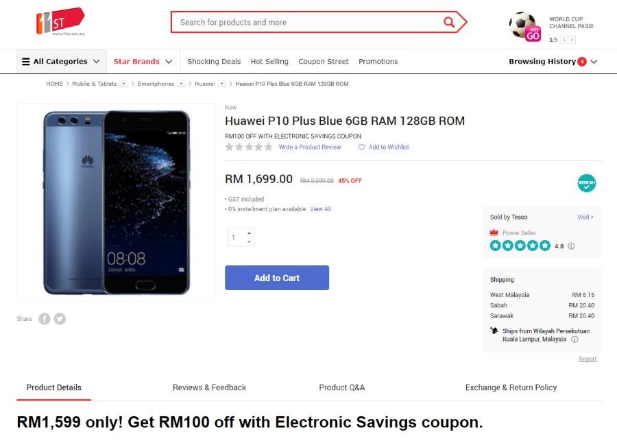 Huawei P10 Plus Deal Tesco