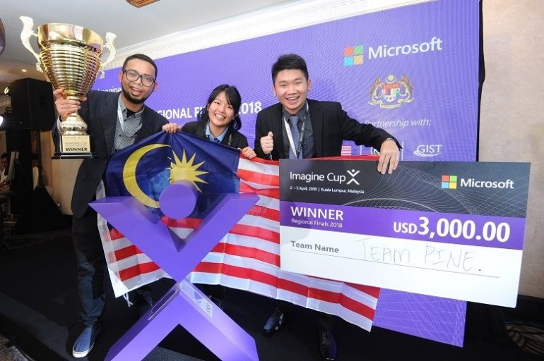 Team PINE of Malaysia - Champion, Microsoft Imagine Cup APAC Finals 2018