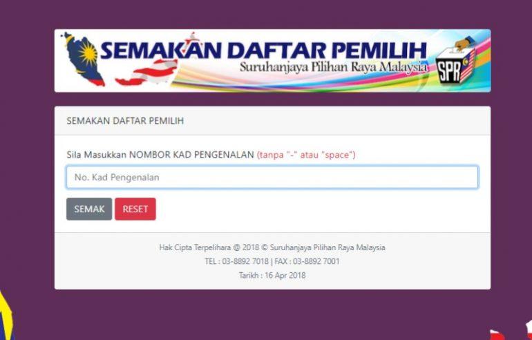 Semakan Daftar Pemilih PRU14