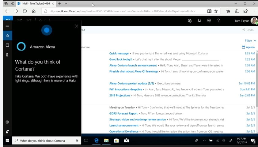 Microsoft Build 2018: Cortana Alexa Demo