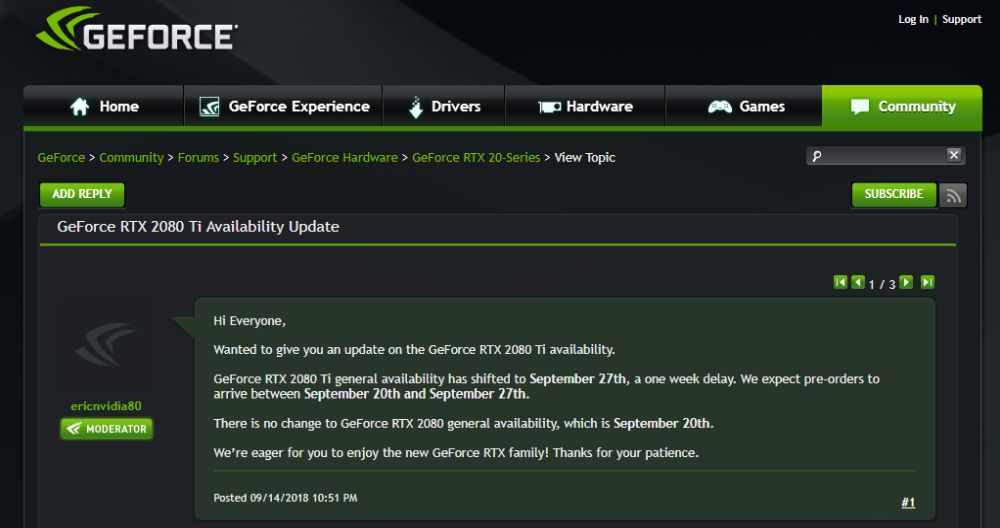 Nvidia postpones release of GeForce RTX 2080 Ti until September 27