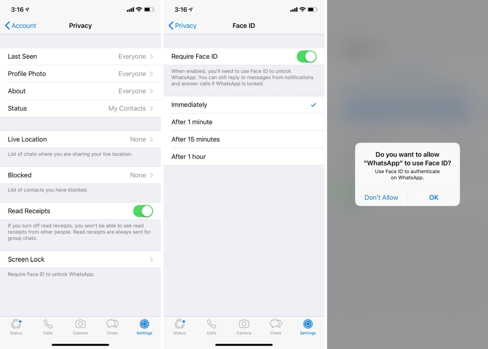 You can secure your WhatsApp conversation with Face ID and Touch ID