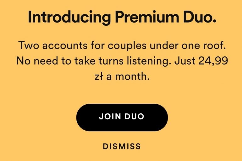 Spotify trials new Premium Duo plan for two