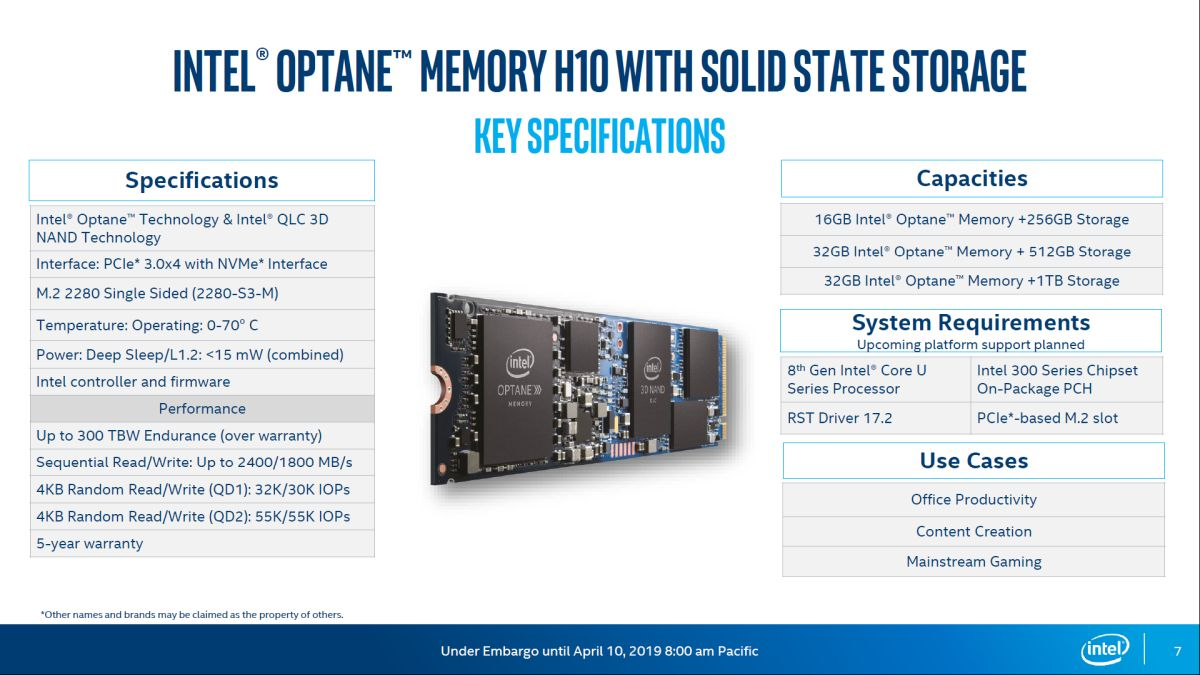 Intel Announces New Optane Memory H10 With Solid State Storage
